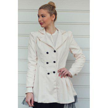 Women's Worsted Color Matching Double-breasted Beam Waist Voile Stitching Plicated Ruffles Long Edition Stylish Coat - WHITE WHITE
