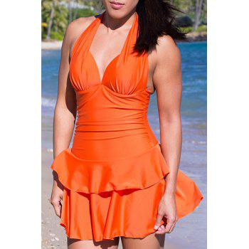 Sweet Halterneck Ruffled Double-Layered Flounce One-Piece Women's Swimsuit