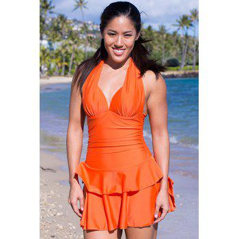 Women's Cute Double-Layered Flounce Self-Tie Pleated One-Piece Swimsuit - JACINTH XL