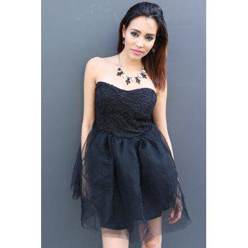 Sexy Strapless Sleeveless Solid Color Ball Gown Lace-Up Women's Dress - S S