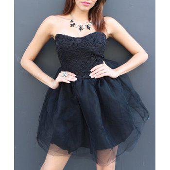 Sexy Strapless Sleeveless Solid Color Ball Gown Lace-Up Women's Dress - BLACK M