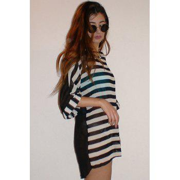 Striped Tunic Dress Beach Cover Up With Sleeves - STRIPE ONE SIZE