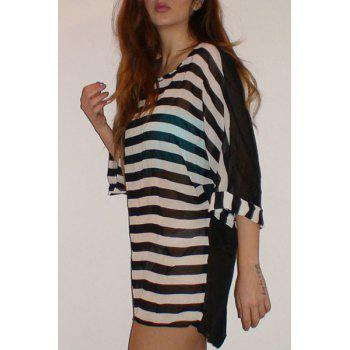 Striped Tunic Dress Beach Cover Up With Sleeves