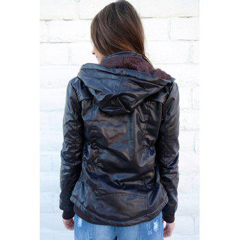 Chic Solid Color Hooded Detachable Sleeve Faux Leather Jacket For Women - COFFEE S