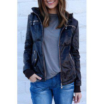 Chic Solid Color Hooded Detachable Sleeve Faux Leather Jacket For Women