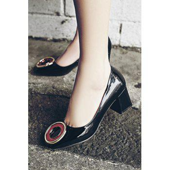 Trendy Square Toe and Metal Design Pumps For Women - BLACK 39