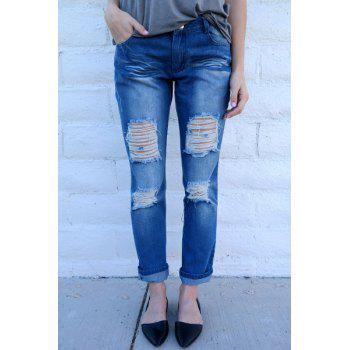 Trendy Mid-Waisted Bodycon Hole Design Women's Jeans