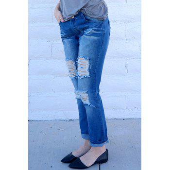 Trendy Mid-Waisted Bodycon Hole Design Women's Jeans - BLUE S