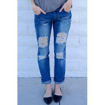 Trendy Mid-Waisted Bodycon Hole Design Women's Jeans - S S