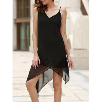 Casual Black V-Neck Sleeveless Handkerchief Dress For Women