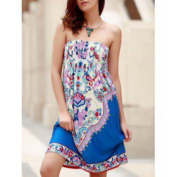 Bohemian Sleeveless Strapless Floral Print Women's Dress