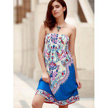 Bohemian Sleeveless Strapless Floral Print Women's Dress - BLUE BLUE