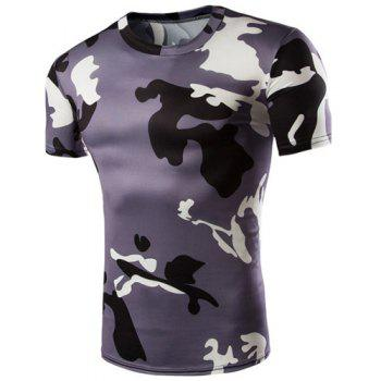 Camo Print Air Permeable Design Round Neck Short Sleeves Men's T-Shirt