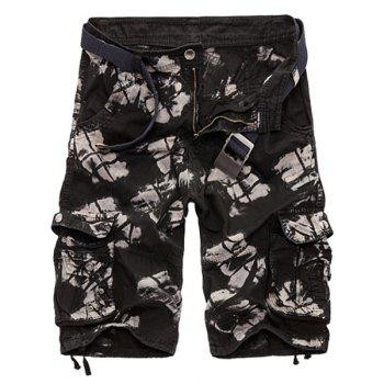 Military Style Zipper Fly Multi-Pocket Loose Fit Straight Leg Men's Camo Shorts