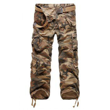 Camouflage Straight Leg Multi-Pocket Men's Loose Fit Cargo Pants
