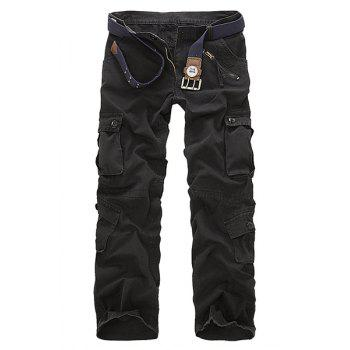 Multi-Pocket and Zipper Embellished Straight Leg Men's Loose Fit Cargo Pants