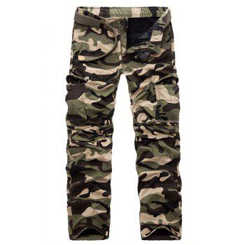 Military Style Straight Leg Multi-Pocket Loose Fit Men's Zipper Fly Camo Cargo Pants(Thicken)