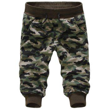 Casual Loose Fit Camo Print Beam Feet Lace-Up Men's Capri Pants