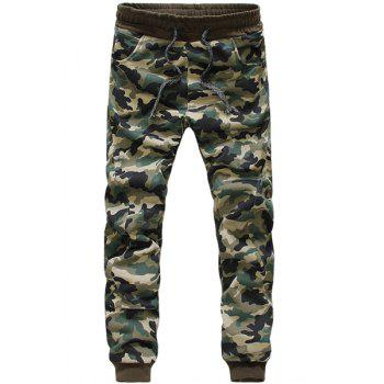 Casual Narrow Feet Camo Print Lace-Up Men's Slimming Jogger Pants