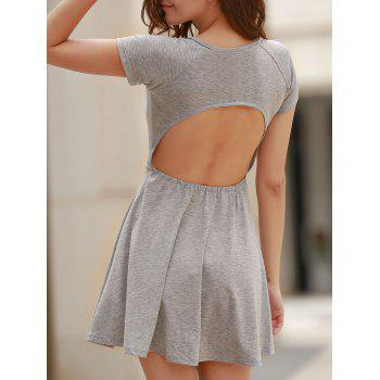 Sweet Gray Scoop Neck High Waist Backless Dress For Women