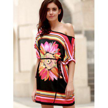 Chic Short Sleeve One-Shoulder Floral Print Women's Dress - BLACK ONE SIZE(FIT SIZE XS TO M)
