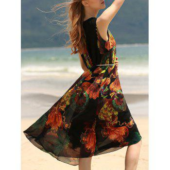 Vintage Style U Neck Sleeveless Printed Chiffon Self Tie Belt Women's Dress