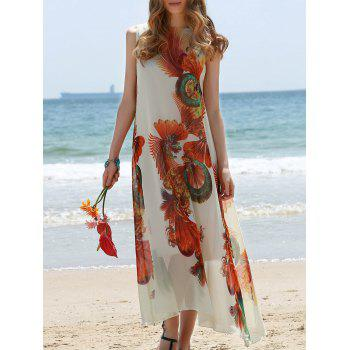 Retro Style Jewel Neck Sleeveless Printed Tea Length Loose Women's Dress