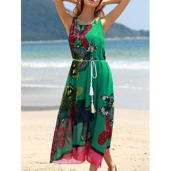 Graceful Round Collar Sleeveless Butterflies Print Tea Length Chiffon Women's Dress