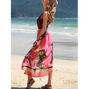 Graceful Round Collar Sleeveless Butterflies Print Women's Tea Length Dress