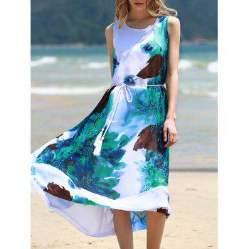 Graceful Round Collar Sleeveless Floral Print Chiffon Women's Midi Dress