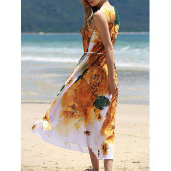 Graceful Round Collar Sleeveless Yellow Floral Print Chiffon Women's Dress