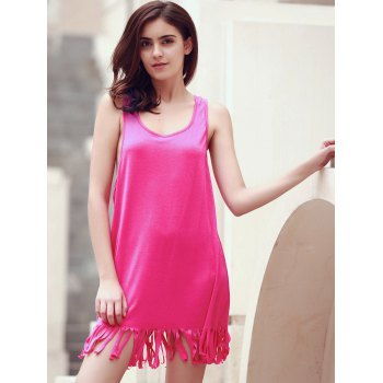 Sleeveless Fringed U-Neck Cover-Up - ROSE L