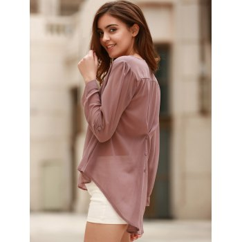 Stylish Women's V-Neck Coffee High Low Long Sleeve Blouse - COFFEE S