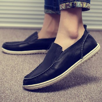 Trendy Solid Color and Slip-On Design Casual Shoes For Men - BLACK BLACK
