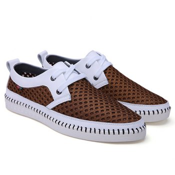 Simple Mesh and Lace-Up Design Casual Shoes For Men - 42 42