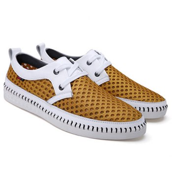 Simple Mesh and Lace-Up Design Casual Shoes For Men - 44 44