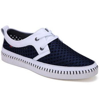 Simple Mesh and Lace-Up Design Casual Shoes For Men - DEEP BLUE 40