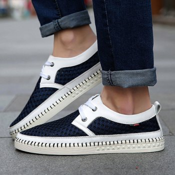 Simple Mesh and Lace-Up Design Casual Shoes For Men - 41 41