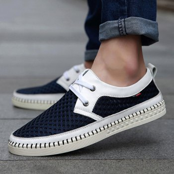 Simple Mesh and Lace-Up Design Casual Shoes For Men - 43 43