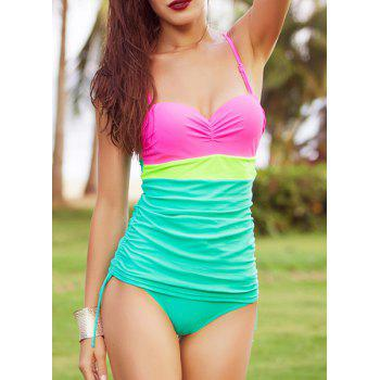 Sweet Color Block Spaghetti Strap Women's One Piece Swimsuit