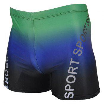 Buy Letter Printing Elastic Waist Men's Boxers Swimming Trunks COLORMIX