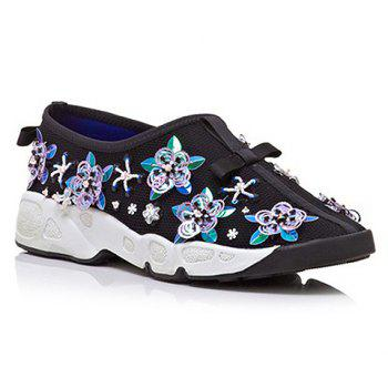 Trendy Flowers and Slip-On Design Sneakers For Women