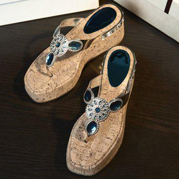 Stylish Rhinestones and Platform Design Women's Slippers - 34 34