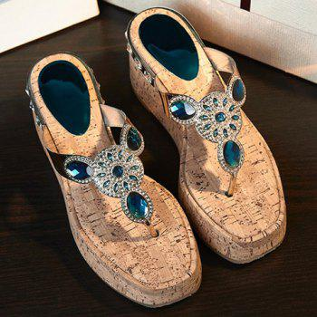 Stylish Rhinestones and Platform Design Women's Slippers - PEACOCK BLUE PEACOCK BLUE