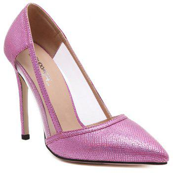 Fashionable Transparent Plastic and Embossing Design Women's Pumps - VIOLET ROSE 37