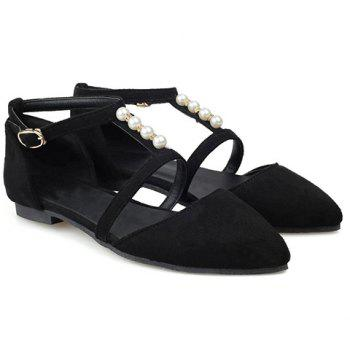 Trendy Suede and Beading Design Women's Flat Shoes - BLACK BLACK