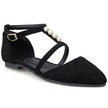 Trendy Suede and Beading Design Women's Flat Shoes - BLACK 38