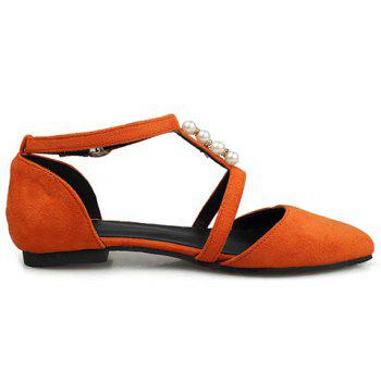 Trendy Suede and Beading Design Women's Flat Shoes - 37 37