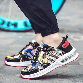 Stylish PU Leather and Printed Design Sneakers For Men - 39 39