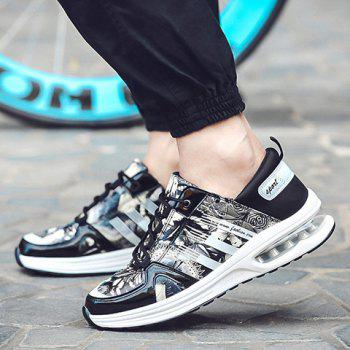 Stylish PU Leather and Printed Design Sneakers For Men - BLACK/GREY 44